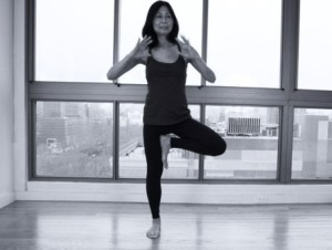 yoga practicing patience  black and white 4